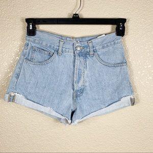 European Melville light wash high rise jean shorts